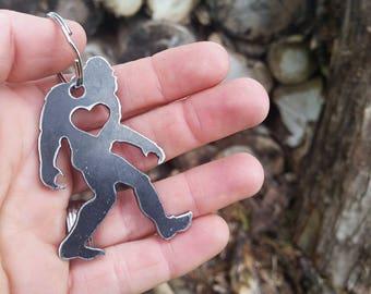 Yeti Bigfoot Sasquatch Rustic Steel Metal Key Chain Folklore Legend Wander Myth By BE Creations