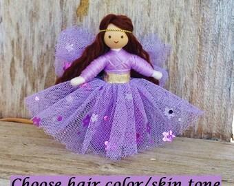 Fairy Doll -  Purple -  Flower Fairy Doll - Bendy Doll - Tooth Fairy - Fairy Garden - Brown hair - Fairy Garden Doll