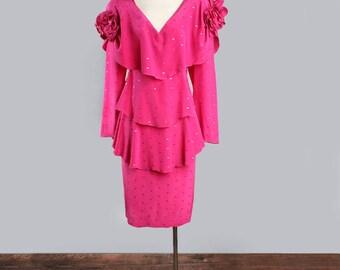 1980's Designer HOLLY HARP Pink Silk Vintage Dress - Couture, 70's Stevie Nicks Bohemian Style, Size MEDIUM