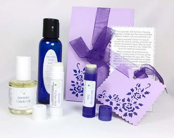 Scented spa gift set, Mothers Day gift for her, Lavender spa gift set, of lotion, solid perfume, nail oil, lip balm, gift ideas for mom