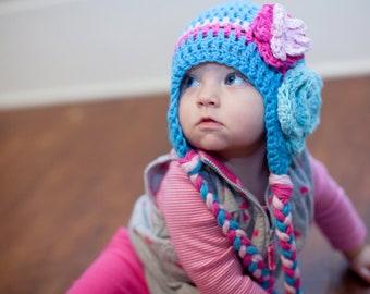 girls winter hat, girls hat, newborn girl hat, Crochet baby hat, baby girl hat, crochet girls hat, crochet kids hat, hat with flower