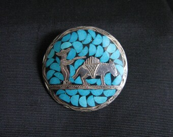 Mexican Silver brooch pendant combo turquoise sterling silver vintage