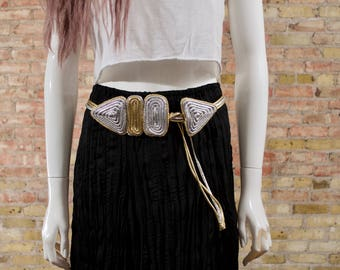 silver rope belt / gold silver belt / 80s rope belt / statement belt / low slung belt / geometric belt / metallic belt / grecian belt