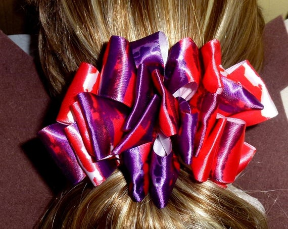 Becky Bows~  Barrette Hand crafted huge ribbon BIG hair bow Women or Girls giant red purple watercolor