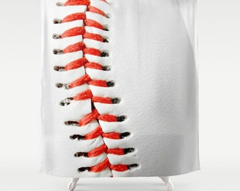 Baseball Bathroom-Baseball Shower Curtain-Sports Bathroom-Red & White Bathroom Decor-Sports Bath Decor-Athletic Decor-Kids Bathroom Decor