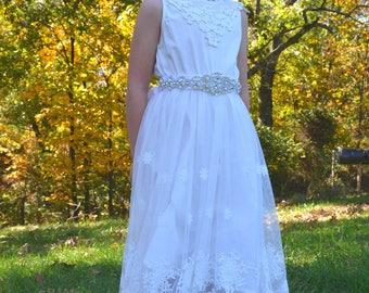 flower girl dress, girl lace dress, cream lace dress, off white lace dress, white, lace dress, long sleeve dress, flower girl dresses