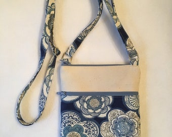 Cell phone bag; Small crossbody bag; Blue and off-white