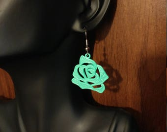 Flower Earrings Mint Green Drop Dangle Hook Charm Pendant Earrings Rubber Stoppers