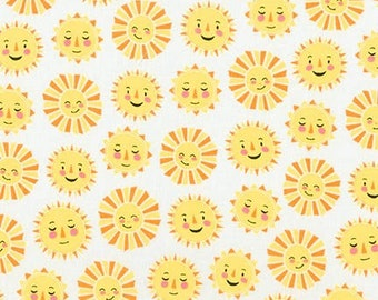 Smiling Suns on White From Robert Kaufman's Daydreamer Collection by Andie Hanna- 17640
