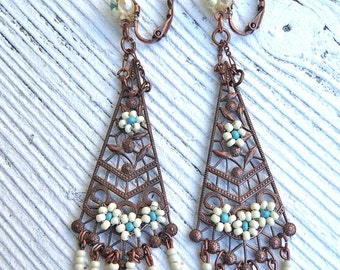 ART DECO fringed long dangles Ivory and  turquoise earrings