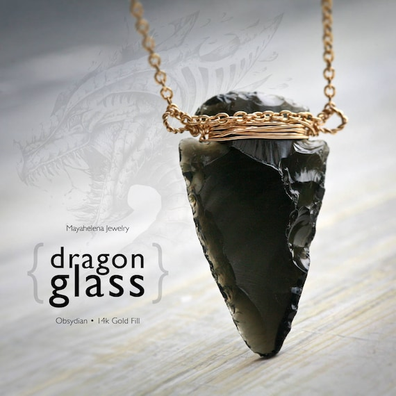 Dragon Glass - Winter is Coming - Obsidian Hand Carved Arrowhead Wire Wrapped in 14k Gold Fill Necklace