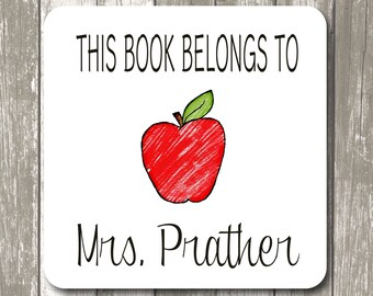 """This book belongs to label stickers - 2"""" x 2"""" White Photo Gloss, Personalized Teacher Gift,  Back to School Gifts"""