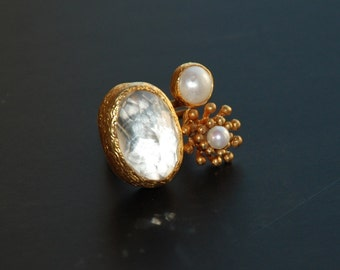 Clear White Quartz and Pearl Ring with a Flower, White Clear quartz, big pearl ring, nail flower, rose ring, adjustable statement ring