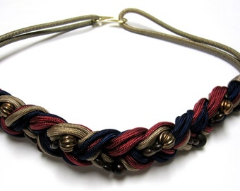 Blue Red Gold Belt Twisted Braided Cinch Bead