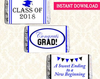Class of 2018 Graduation Printable Mini Candy Bar Wrappers, Hershey Minis Chocolate Bar Labels, DIY Grad Favors, Blue and Black, Digital