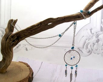 Dream catcher or dream catcher necklace silver and turquoise