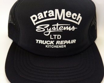 Retro Vintage Trucker Hat ParaMech Systems Ltd Truck Repair Kitchener Black Mesh Snapback Ontario Canada