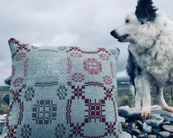 Cushion made out of vintage  welsh blanket 100%wool