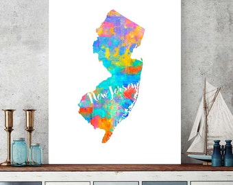 New Jersey Map, Printable Map, New Jersey Print, Watercolor Wall Art, Map Wall Art Decor, Nursery Decor