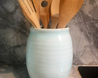 Porcelain utensil holder, porcelain kitchen utensils, handmade utensil container