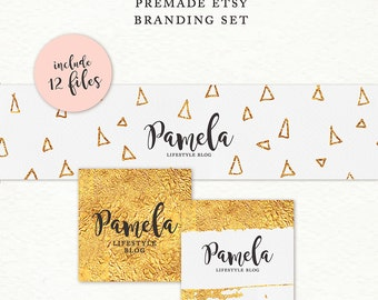 Etsy Cover Photo - Etsy Banner - Etsy Shop Set - Gold foil Branding Kit - Branding Package - Premade Etsy Shop Set - Etsy shop kit