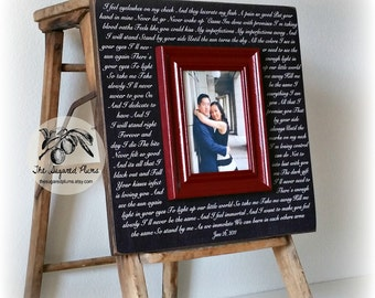 Valentine's Gift for Husband, First Dance, Song, Lyrics, Wedding Frame, 5th Anniversary Gift, 16x16 Sugared Plums Frames