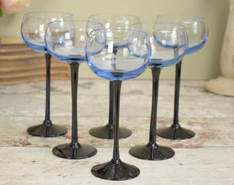 Set of six wine glasses, 1970's retro blue glass, with contrasting black stems