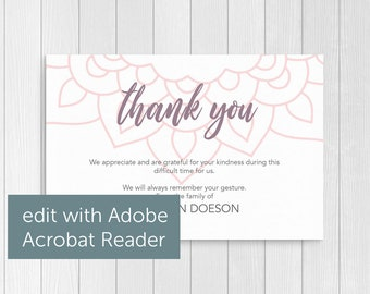 Manadala Thank You Card Template Printable and Editable Modern Funeral Cards Mourning Cards Funeral Stationery
