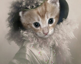 Kaira, Whimsical Cat Print, Cat in Clothes, Nursery Decor, Cat Note Cards, Victorian Wall Decor, Victorian Photo Art, Photo Collage Print