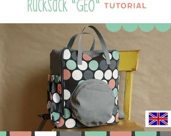 sewing pattern backpack GEO, PDF tutorial DIY, rucksack, instructions, sewing tutorial