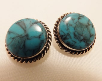 Silver Tone Faux Turquoise Round Clip On Earrings