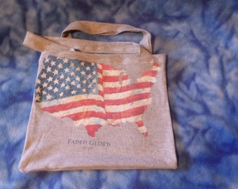 American USA Flag Tee Shirt Tote Reuseable Cotton Shopping Book Bag Recycle Upcycled Green