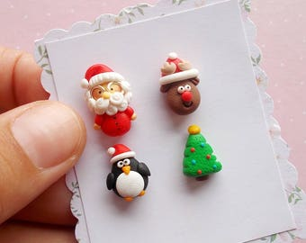 Christmas Earrings - Santa Earrings - Christmas Jewelry - Stud Earrings - Xmas Jewellery - Funny Christmas Gift