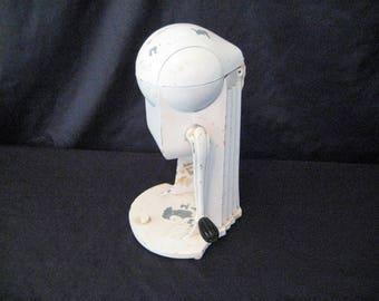 Vintage ice crusher, Ice- O- Mat, white, rustic, distressed, heavy aluminum, hand crank, retro kitchen display, mid century, primitive, USA