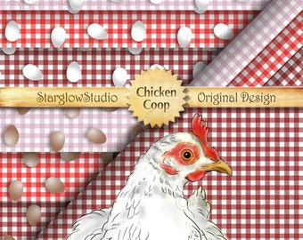 Chicken Coop Eggs Country Gingham Check Digital Paper: Down on the Farm, Shades of Red, White & Brown Eggs, Scrapbooking, Crafting Supply