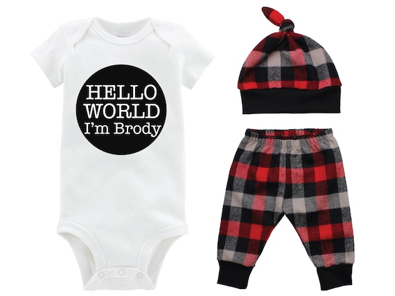 Boy Hello World Going Home Outfit Buffalo Plaid Pants Winter Baby Outfit Personalized Red Black Buffalo Plaid Hello World Fall Outfit