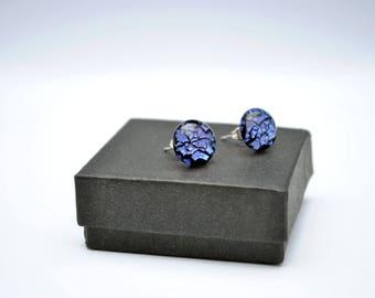 Purple crinklized dichroic stud earrings