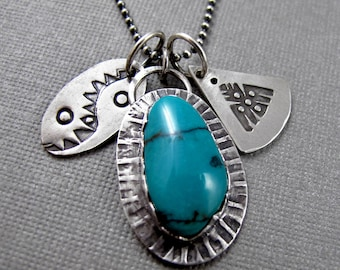 Turquoise Necklace with Stamped Sterling Silver Charms - Tribal Rustic Necklace - Storytellers Necklace - Story Necklace