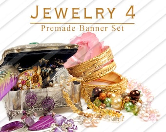 """Shop banner - Shop banner Set - Etsy shop banner set - Graphic banners - Banners - """"Jewelry 4"""""""