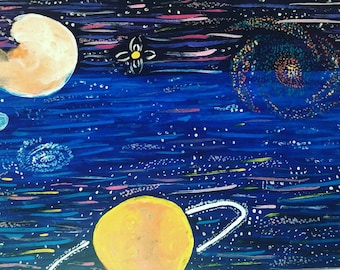 Space wall, art print, space painting, galaxy painting, acrylic painting, space wall art, galaxy prints, planets painting