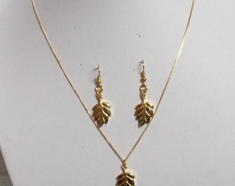 Yellow Gold plated Sterling Silver leaf jewellery set, Gold plated Sterling Silver leaf pendant, Gold plated Sterling Silver leaf earrings,