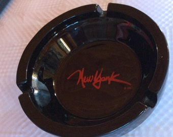 VINTAGE GLASS ASHTRAY, New York, collectible, black, smoking, dish, advertising