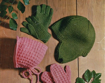 Childrens mitts gloves bonnet helmet childrens hats knitting pattern 3-10yrs DK childrens knitting pattern for children pdf instant download