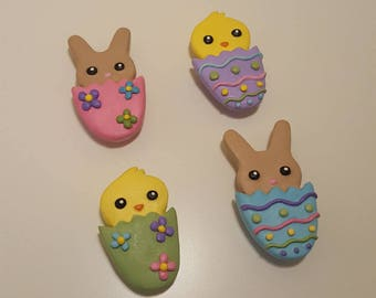 Cute Easter Magnets/ Chick Magnets/ Easter Bunny Magnets/ Easter Egg Magnets/ Refrigerator Magnets/ Set of Four Magnets/Polymer Clay Magnets