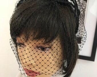 Vintage French Style Black Velvet Hair Bow Fascinator with Short Net Veil