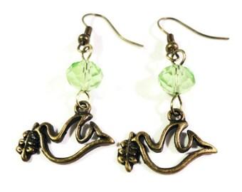 Bird Charm Earrings, Peace Dove Earrings, Peridot Green Crystal Bead Earrings, Beaded Dangle Earrings, Bronze Earrings, Beadwork Jewelry