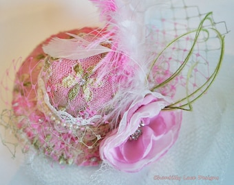 Pink Lace Feather Top Hat Girls Fascinator