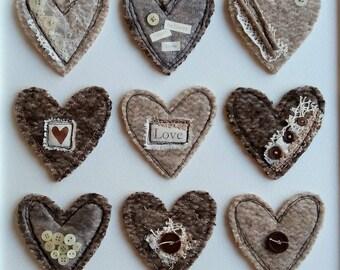 Felt textile art. Original art. Felted art. Fiber arts. Textile art. Fiber mixed media. Heart art. Textiles. Felted wool. Handmade.