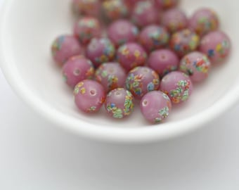 Vintage Rosy Raspberry Pink Glass Round Millefiori Beads Japan 8mm (12)