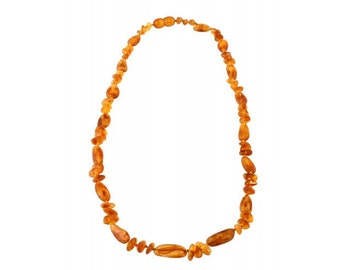 Baltic Yellow Stylized Natural Raw Amber Necklace Beads